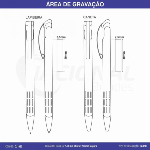CONJUNTO CANETA E LAPISEIRA C/ DETALHE VAZADO CJ1022