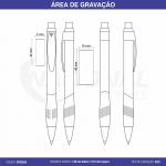 CANETA DE PLÁSTICO C/ PONTILHADOS NA BORRACHA CP0302A