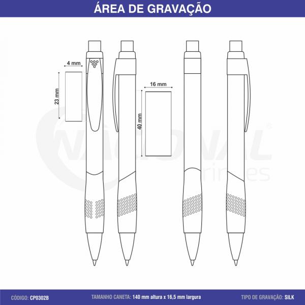 CANETA DE PLÁSTICO TRANSPARENTE C/ PONTILHADOS NA BORRACHA CP0302B