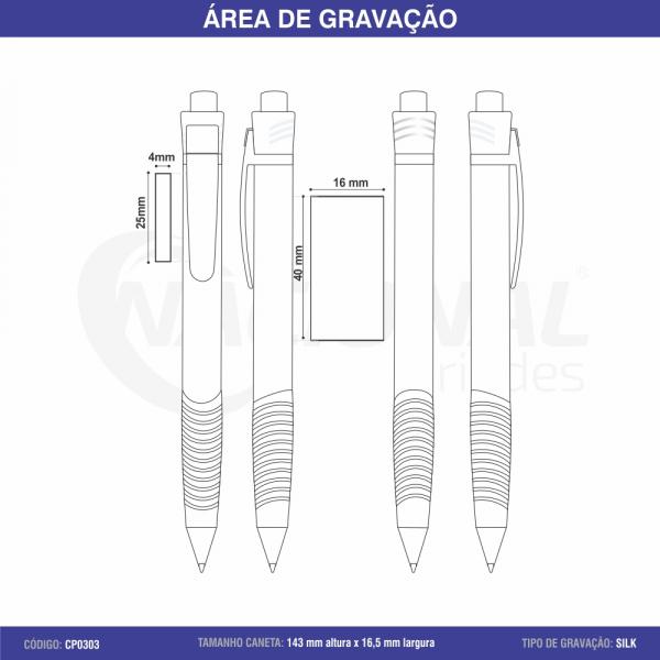CANETA DE PLÁSTICO C/ ONDULAÇÕES NA BORRACHA CP0303