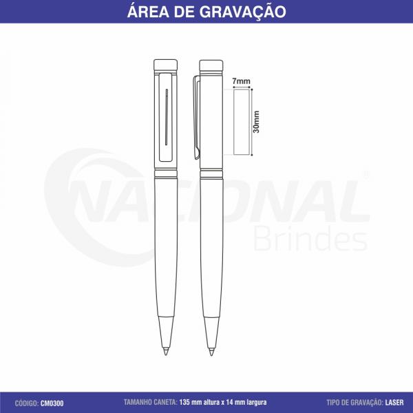 CANETA DE METAL C/ DETALHE DOURADO CM0300