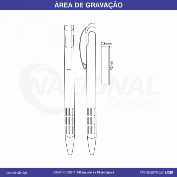 CANETA DE METAL C/ DETALHE VAZADO CM1022