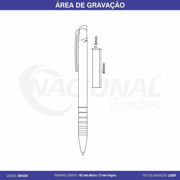 CANETA DE METAL C/ DETALHE DE 6 ANÉIS CM1028