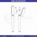 CANETA DE METAL COM DETALHE DOURADO ROLLER CM0300R