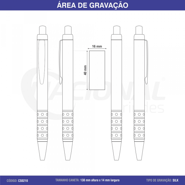 CANETA SEMI-METAL C/ DETALHES DE STRASS CS0210