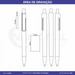 CANETA SEMI-METAL MODERNA C/ CORPO BRANCO CS1031