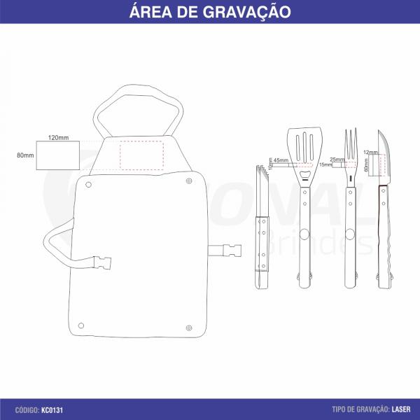 KIT CHURRASCO 4 PEÇAS COM AVENTAL KC10060